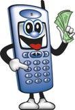 Dinero del ahorro del hombre del teléfono celular Imagen de archivo libre de regalías
