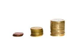 Dinero del aumento en Europa Foto de archivo libre de regalías
