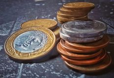 Dinero del Brasil, monedas del Brasil, centavos imagenes de archivo