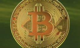 Dinero del cryptocurrency de Bitcoins imágenes de archivo libres de regalías