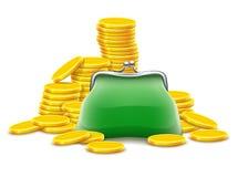 Dinero del efectivo de las monedas del monedero y de oro Imagenes de archivo