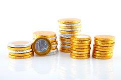 Dinero del euro del chocolate Fotografía de archivo libre de regalías