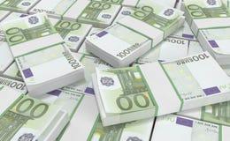 dinero del euro 100 fondo euro del efectivo Billetes de banco euro del dinero Foto de archivo libre de regalías