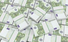 dinero del euro 100 fondo euro del efectivo Billetes de banco euro del dinero Fotos de archivo libres de regalías