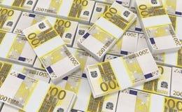 Dinero del euro 200 fondo euro del efectivo Billetes de banco euro del dinero ilustración del vector