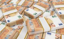 Dinero del euro 50 fondo euro del efectivo Billetes de banco euro del dinero ilustración del vector