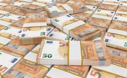 Dinero del euro 50 fondo euro del efectivo Billetes de banco euro del dinero stock de ilustración