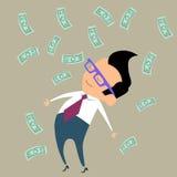 Dinero del hombre de negocios de las finanzas del beneficio feliz Imagen de archivo libre de regalías