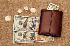 Dinero del monedero Fotos de archivo libres de regalías