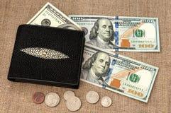 Dinero del monedero Foto de archivo libre de regalías