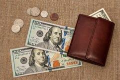 Dinero del monedero Fotografía de archivo libre de regalías