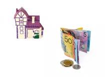 Dinero del préstamo hipotecario Imágenes de archivo libres de regalías
