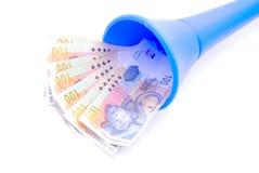 Dinero del rand surafricano en Vuvuzela Imagenes de archivo