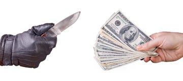 Dinero del robo Fotografía de archivo libre de regalías