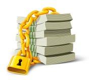Dinero del vector con el bloqueo del oro aislado Imágenes de archivo libres de regalías