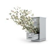 Dinero del vuelo de un armario para almacenar documentos Imagen de archivo