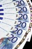 Dinero - detalle euro de 20 notas Foto de archivo libre de regalías