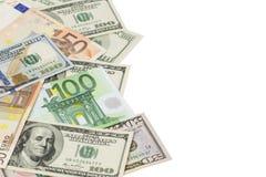 Dinero dispersado aleatoriamente Fotos de archivo