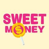 Dinero dulce del texto con la piruleta Foto de archivo