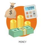 Dinero e iconos planos de las finanzas Imágenes de archivo libres de regalías