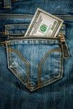 Dinero en bolsillo Foto de archivo libre de regalías