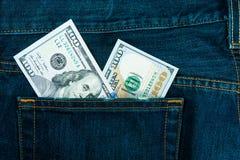 Dinero en bolsillo Fotografía de archivo libre de regalías