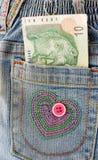 Dinero en bolsillo fotografía de archivo
