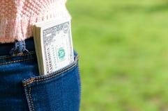 Dinero en bolsillo Imagen de archivo libre de regalías