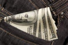 Dinero en bolsillo Fotos de archivo