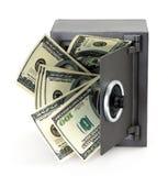Dinero en caja fuerte abierta Fotos de archivo libres de regalías