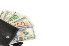 Dinero en cartera Imágenes de archivo libres de regalías