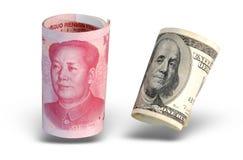 Dinero en circulación aislado de China los E.E.U.U. Imagen de archivo