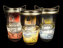 Dinero en circulación australiano imagen de archivo