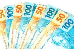 Dinero en circulación brasileño Fotografía de archivo