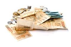 Dinero en circulación brasileño Foto de archivo