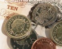 Dinero en circulación BRITÁNICO foto de archivo libre de regalías