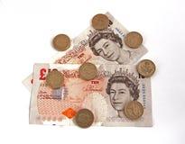 Dinero en circulación (británico) británico Foto de archivo libre de regalías