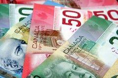 Dinero en circulación canadiense colorido Foto de archivo libre de regalías