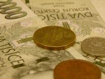 Dinero en circulación checo imagen de archivo