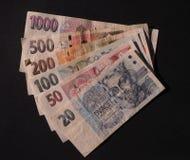Dinero en circulación checo Fotos de archivo libres de regalías