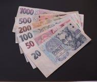 Dinero en circulación checo Imagen de archivo libre de regalías