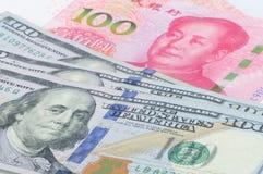 Dinero en circulación chino y americano Imagen de archivo