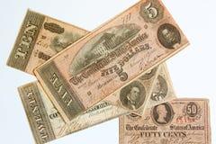 Dinero en circulación confederado obsoleto foto de archivo libre de regalías