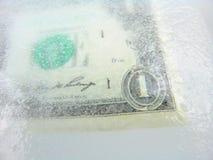 Dinero en circulación congelado, descenso económico, recesión Imagen de archivo