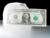 Dinero en circulación congelado o de descongelación de los E.E.U.U. Imagen de archivo libre de regalías
