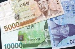 Dinero en circulación coreano Imagenes de archivo