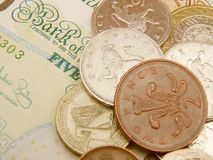 Dinero en circulación de la libra del Sterling británico Fotos de archivo libres de regalías