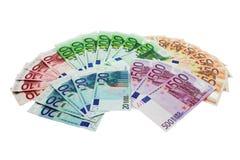 Dinero en circulación de la unión europea formado en un ventilador Imagen de archivo libre de regalías