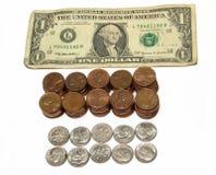 Dinero en circulación de los E.E.U.U. Foto de archivo libre de regalías