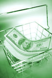 Dinero en circulación de los E.E.U.U. en cesta de alambre   Fotos de archivo